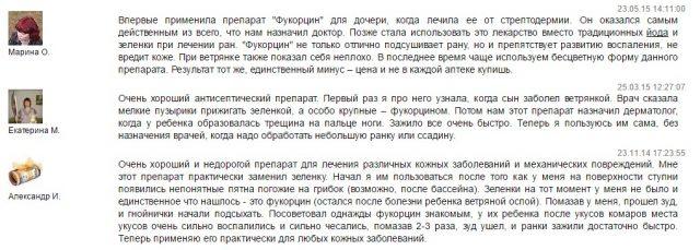 Отзывы о применении Фукорцина при ветрянке
